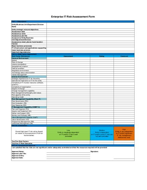 information technology templates enterprise information technology risk assessment form