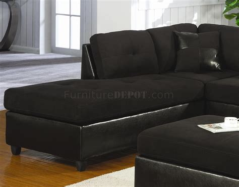 Sectional Sofas Black Microfiber Faux Leather Contemporary Sectional Sofa 500735 Black
