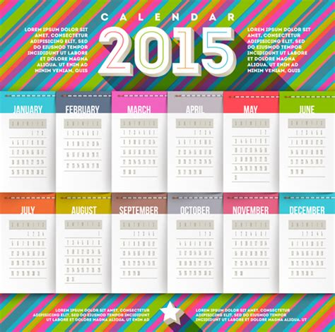design of calendar 2015 creative calendar 2015 vector design set 01 over