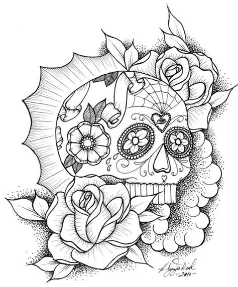awesome sugar skull coloring picture online abstract