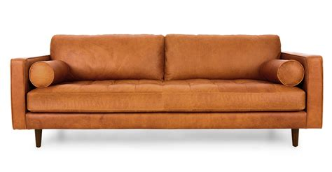 filmore 89 inch tan leather sofa leather sofa tan best 25 modern leather sofa ideas on