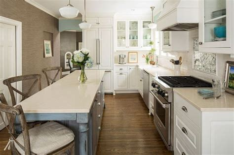 narrow kitchen with island