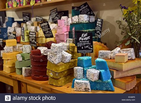 Handmade Products Store - colorful soap displays at the lush store on east 14th