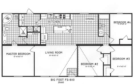 simple four bedroom house plans 4 bedroom floor plan c 8110 hawks homes manufactured