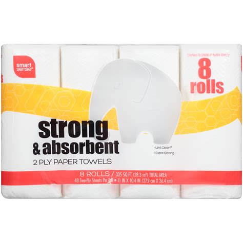 What Makes Paper Towels Strong - smart sense strong 8 roll paper towel shop your way