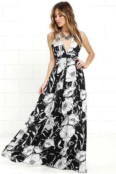 Maxi Flower Black Dress lovely black floral print dress maxi dress black and white dress 88 00