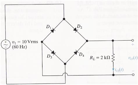 ideal diode rectifier a four diode wave rectifier circuit is shown