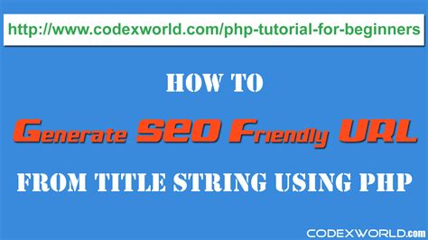 codeigniter tutorial for beginners codexworld generate seo friendly url from string in php codexworld