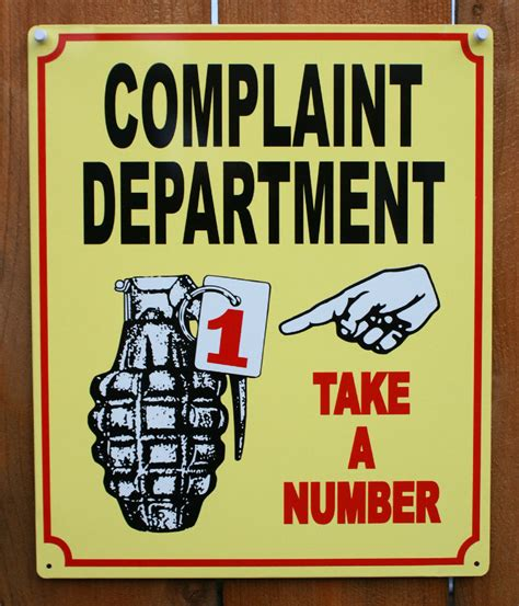 Complaint Department by Complaint Department Take A Number Tin Sign Grenade Work