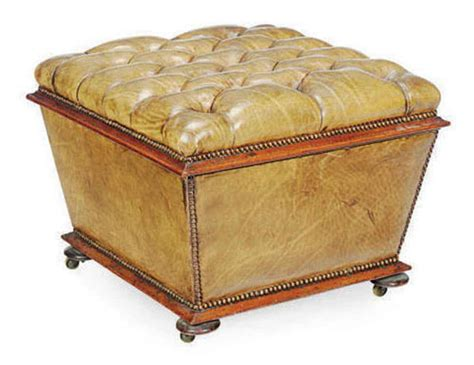 covered ottoman a victorian button tufted leather covered ottoman late