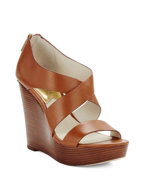 michael michael kors stacked platform leather wedges