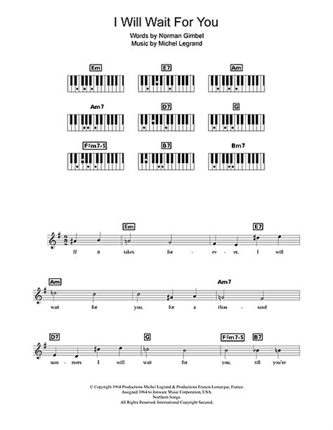 I Will Wait For You sheet music by Michel Legrand