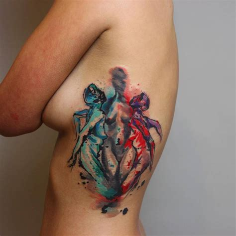watercolor style side tattoo of three women body