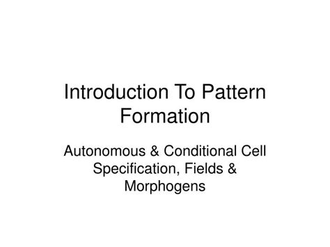 pattern formation ppt ppt introduction to pattern formation powerpoint