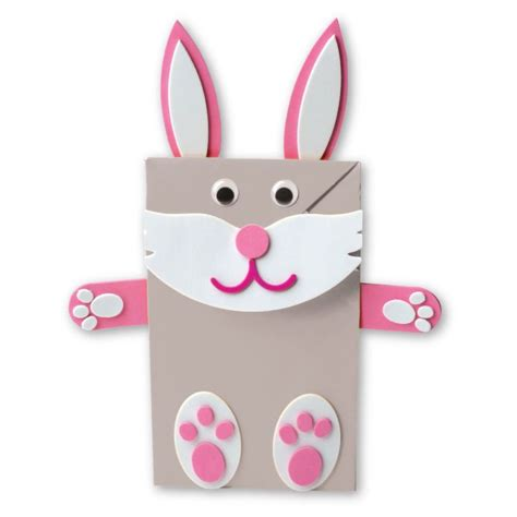 easter paper bag pattern make your own pink bunny paper bag puppet with this