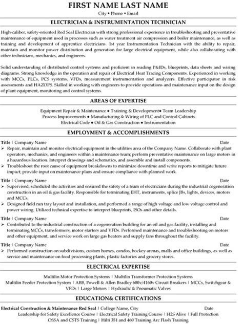 resume format for electrical technician top trades resume templates sles