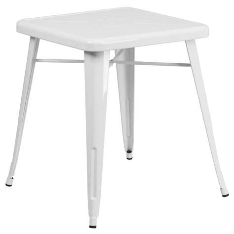 White Metal Patio Table 23 75 Square White Metal Indoor Outdoor Table Ch 31330 29 Wh Gg