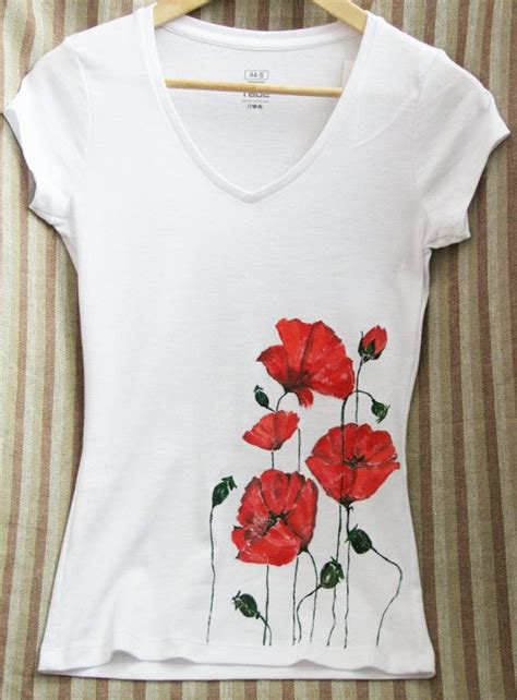 Painting T Shirts Ideas by Handpainted T Shirt Poppies T Shirt Painted Shirts