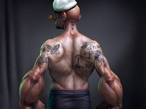 body tattoo hd wallpaper popeye body 3d cartoon pictures wallpapers hd desktop