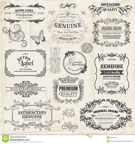 calligraphic vintage design elements vector set calligraphic design elements royalty free stock image