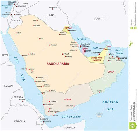 arabian peninsula political map arabian peninsula map stock illustration image 56587240