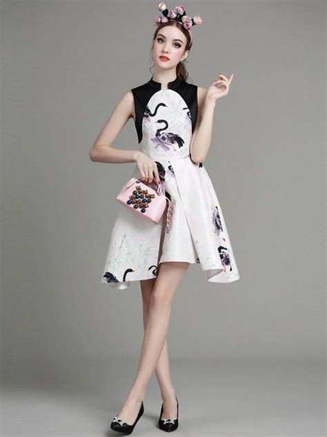 Printed Cheongsam printed qipao cheongsam dress with curved hem qipao