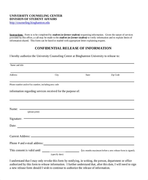 sample release  information form   documents