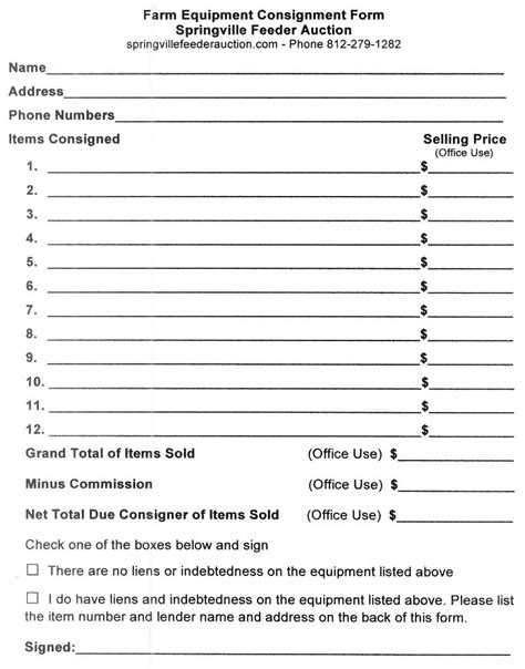 doc 7841000 consignment form free printable documents