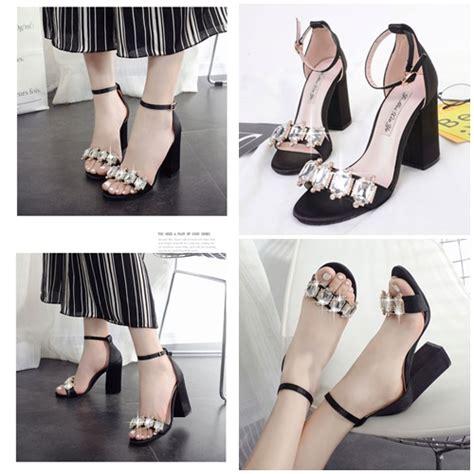 jual shh186 black sepatu pesta elegan 9cm grosirimpor