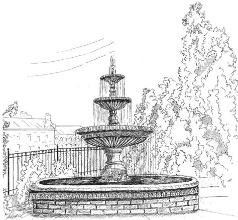 prattville fountain drawing by barney hedrick