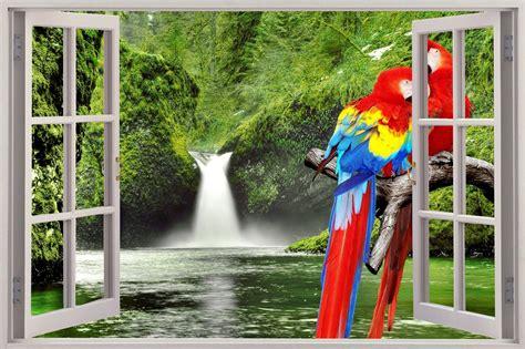 Walsticker 3d Pohon 3d window view parrots waterfall wall sticker mural decal wallpaper ebay