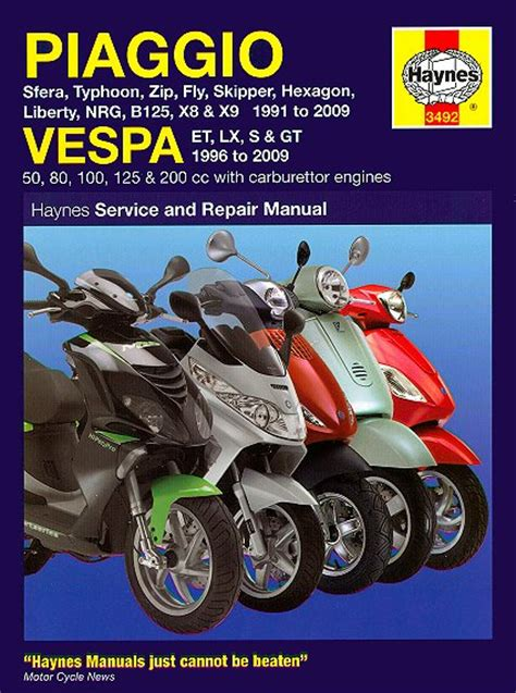 motor scooter repair scooter repair manual for piaggio and vespa 1996 2009
