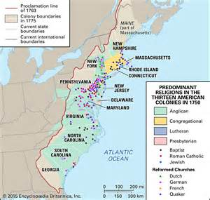 religion map of the 13 american colonies in 1750