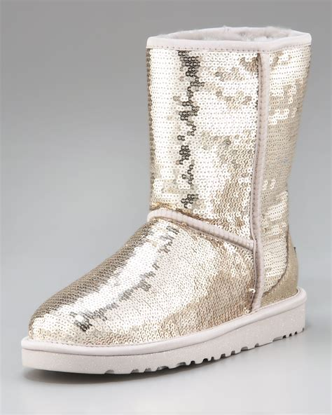 ugg sparkle boots ugg sequined sparkles boot in black silver lyst