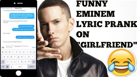 song for gf eminem quot lyric text quot prank on quot quot