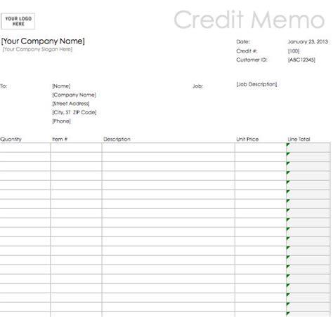 excel credit memo template