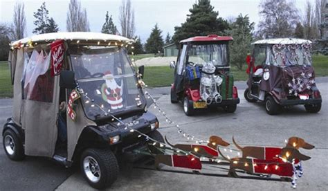 Lighted Reindeer Decorations by Foursom Golf Cars The Estates Golf Car Christmas Lights