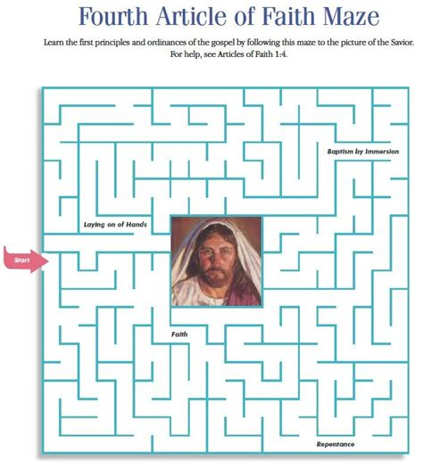 printable lds mazes lds games mazes 4th article of faith church stuff