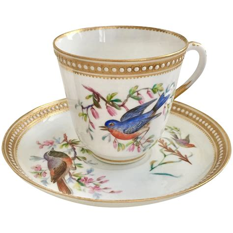 High Quality Handpainted Gold Bird Cup And Plate Royal Worcester Teacup With Painted Birds