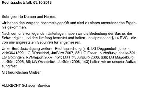 Schreiben Rechtsschutzversicherung Muster Arag 171 Rsv