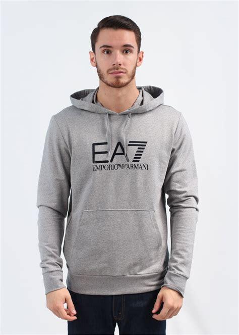 Hoodie Sweater Grey Front Logo emporio armani ea7 logo hooded sweatshirt grey