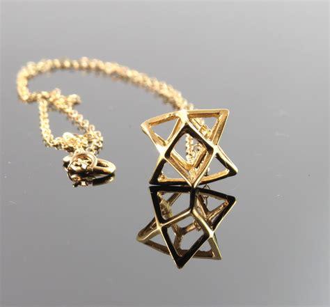 large size gold merkaba necklace merkaba pendant gold