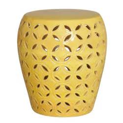 large lattice yellow glaze ceramic garden stool