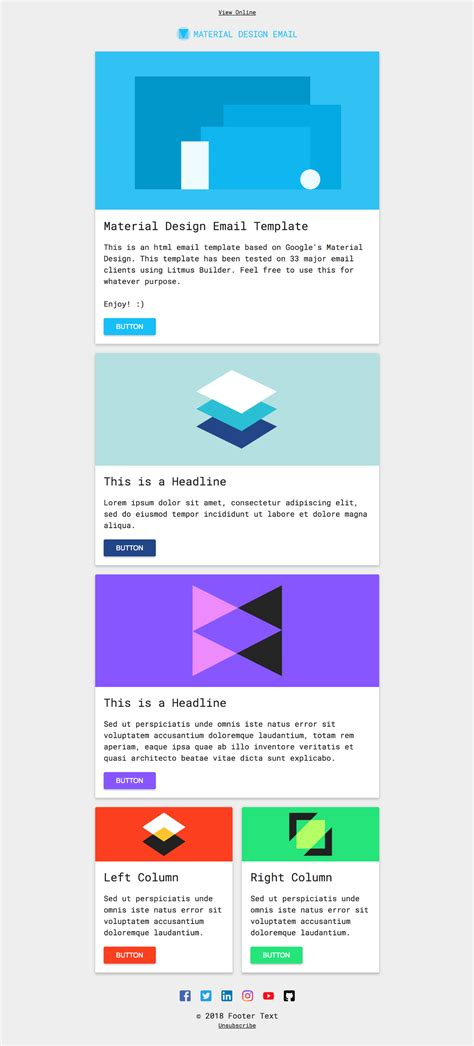 Free Html Email Template Material Design On Behance Email Templates For Web Designers And Developers