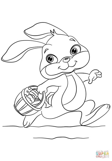 running rabbit coloring page bunny running with easter eggs in a basket coloring page