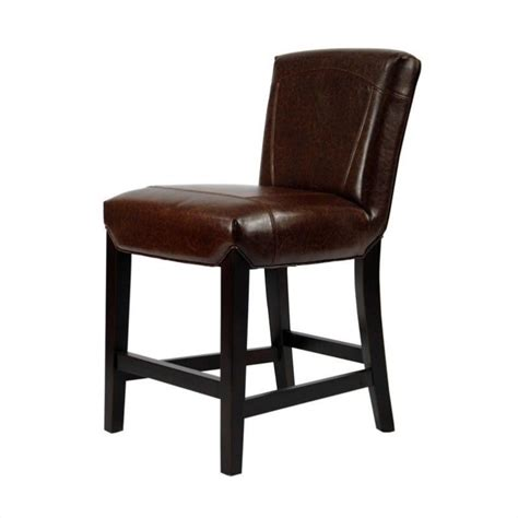 bar stools wood and leather safavieh ken beech wood leather 24 quot counter stool in brown