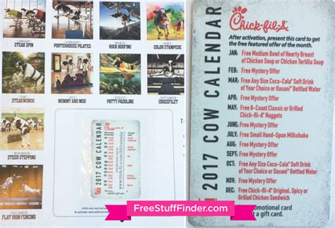 Fil A Calendars 7 Fil A 2017 Coupon Calendar Includes 12 Free Food