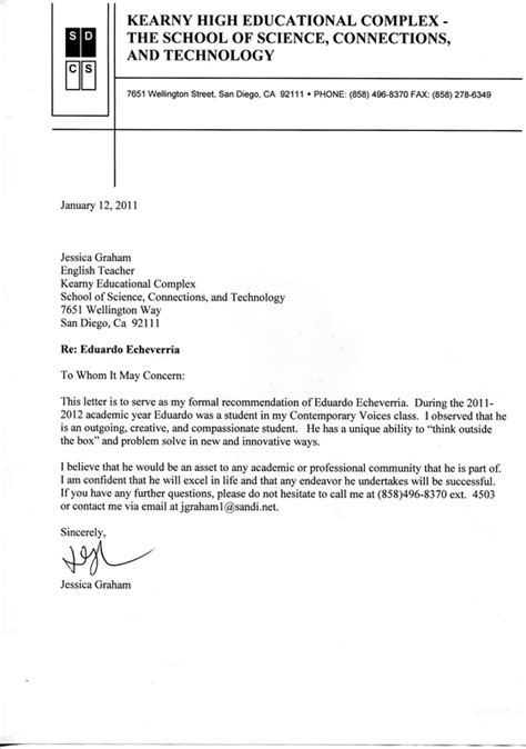 Letter Of Recommendation For College Portfolio Letter Of Recommendation Eduardo Echeverria Senior Portfolio