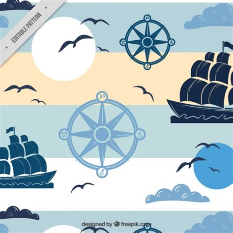 nautical pattern vector nautical pattern with boats vector free download