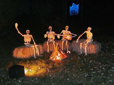 themes around halloween hilarious skeleton decorations for your yard on halloween